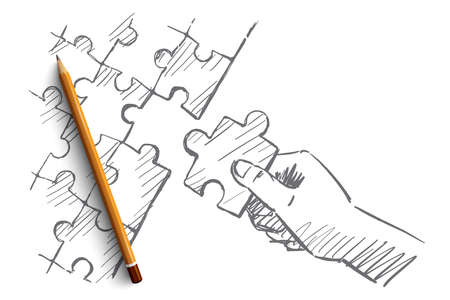 completing: hand drawn puzzle hand concept sketch with pencil over it. Human hand completing whole puzzle with last piece