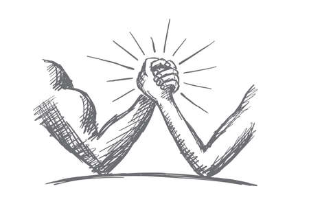 Vector hand drawn power concept sketch. Arm wrestling between strong muscular man and thin and weak man