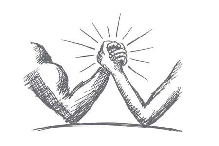 Vector hand getrokken macht concept van schets. Arm worstelen tussen sterke gespierde man en dun en zwak man Stock Illustratie