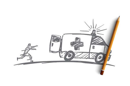 Vector hand drawn ambulance concept sketch with pencil over it. Man running towards ambulance car and trying to catch up it