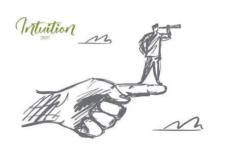 argumentation: Vector hand drawn intuition concept sketch. Man standing on edge of huge human finger and looking throuth spyglass. Lettering Intuition concept Stock Photo