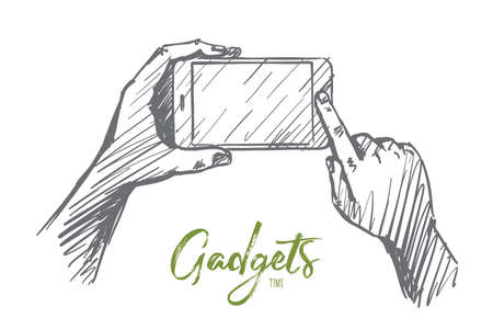 Vector hand drawn gadgets time concept sketch. Human hands holding smartphone and pushing button on it. Lettering Gadgets time