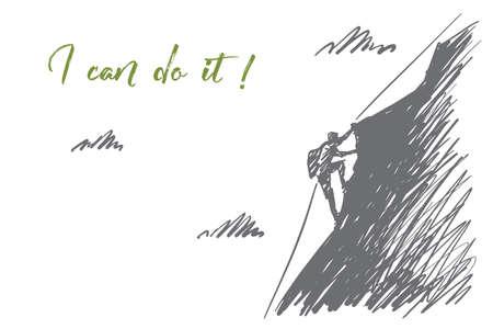 Vettore disegnato a mano posso farlo concetto schizzo. Alpinista salendo di alta montagna con la corda speciale cavo da solo. Lettering posso farlo Archivio Fotografico - 69068562