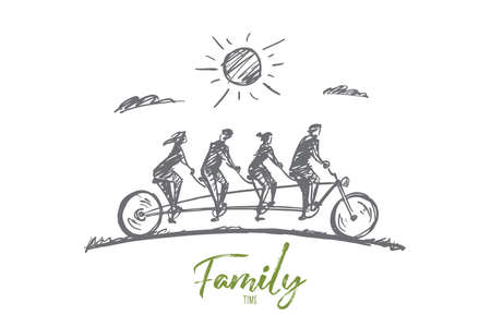 Vector hand drawn Family time concept sketch. Family consisting of four members riding one big bicycle together in summer. Lettering Family time