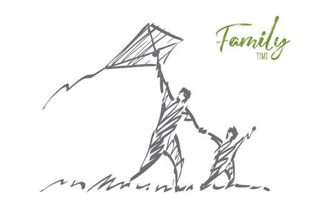 Vector hand drawn Family time concept sketch. Dad and son flying kite together in summer. Lettering Family time
