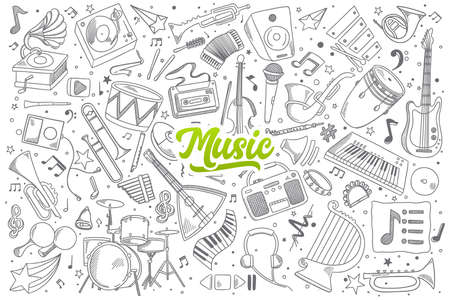 fagot: Hand drawn set of music doodles with green lettering in vector