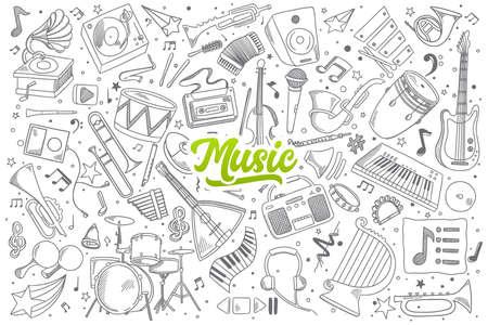 fagot: Ręcznie rysowane zestaw muzyki doodles z zielonym napisem w wektorze
