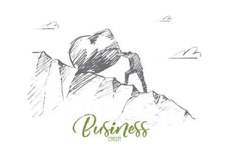 Vector hand getrokken business concept schets. Bisinessman rollend enorm rotsblok de heuvel op. Belettering Business concept Stock Illustratie