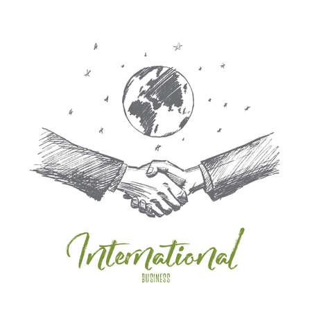 Vector hand getrokken internationale business concept schets. Handdruk van twee zakenlieden met globe op achtergrond. Belettering Internationaal zakendoen