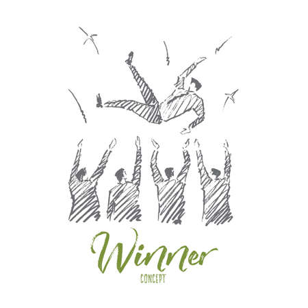 Vector hand drawn Winner concept sketch. Business people greeting and throwing up their leader on raised hands. Lettering Winner concept Illustration