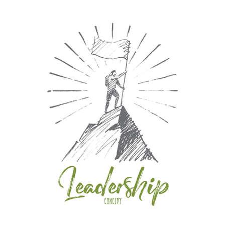 벡터 손으로 그려진 리더십 개념 스케치입니다. 산 꼭대기 정복 플래그가있는 산악인. 레터링 리더십 개념