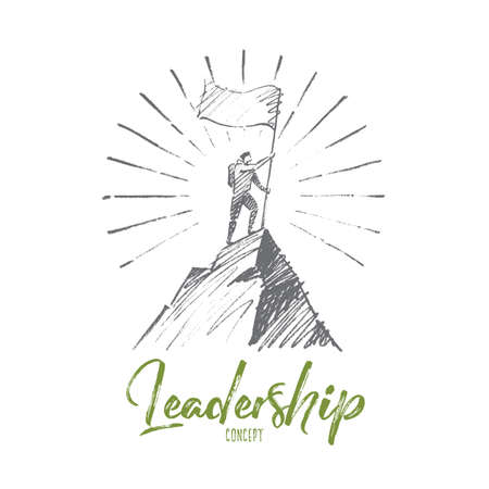 Vector hand drawn Leadership concept sketch. Climber with flag conquering top of mountain. Lettering Leadership concept