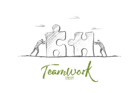 towards: Vector hand drawn teamwork concept sketch. Bisiness people pushing huge pieces of one puzzle towards each other. Lettering Teamwork concept