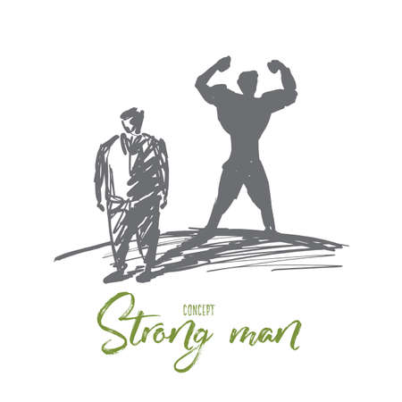 Fat man standing with shadow of strong muscular man behind him. Illustration