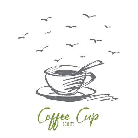 cappucino: Vector hand drawn concept sketch of fragrant full coffee cup with spoon inside Illustration