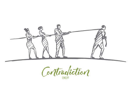 Vector hand drawn contradiction concept sketch with three people pulling rope to one side and man pulling it to another