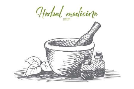 vials: Vector hand drawn natural medicine sketch with vials, jar, pounder and herb leaves Illustration
