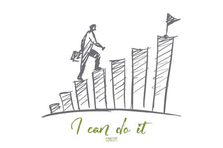 Vector hand drawn I can do it motivational concept sketch with businessman climbing stairs step by step to reach the top with destination flag