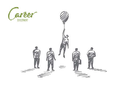 Vector hand drawn career development concept sketch with person holding small air balloon on raised hand while flying up and other people around looking at him.