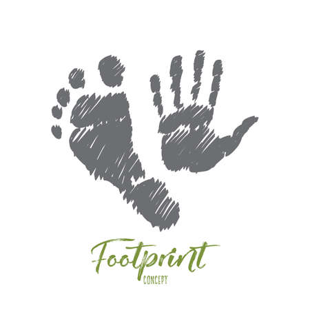 footprint sand: Vector hand drawn footprint concept sketch with prints of human foot and hand