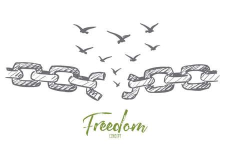 cadena rota: la mano del vector concepto de la libertad croquis dibujado con la cadena rota y bandada de pájaros volando sobre ella Vectores
