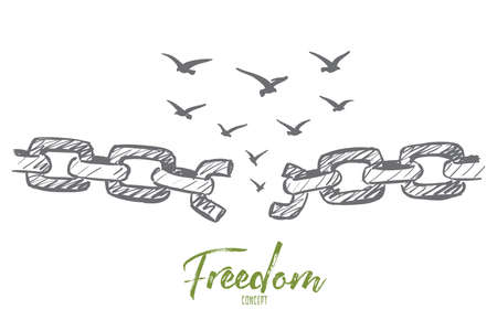 Vector hand drawn freedom concept sketch with broken chain and flock of birds flying over it Illustration