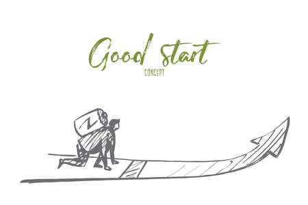 competitions: Vector hand drawn good start concept sketch with man sitting and ready to run with battery on his back