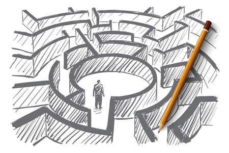 a situation alone: Vector hand drawn labyrinth concept with man standing in the center of maze and pencil over sketch