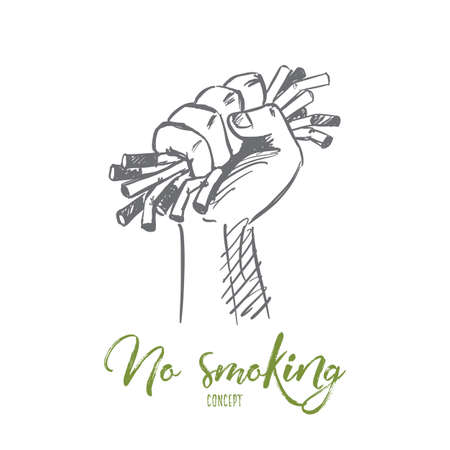 Vector hand drawn no smoking concept sketch with human hand strongly compressing cigarretes and motivational lettering Illustration