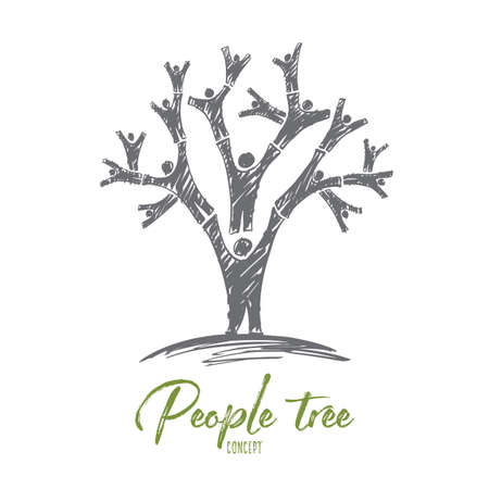used: Vector hand drawn people tree concept sketch with human bodies used as branches and lettering Illustration