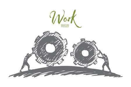towards: Vector hand drawn work concept sketch with people pulling huge cogwheels towards each other with lettering