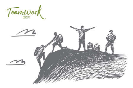 Vector hand drawn teamwork concept sketch with alpinist helping with hand another climber to reach mountain top and two people awaiting for them