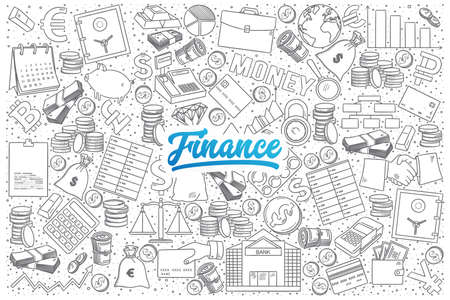 Hand drawn set of finance doodles with blue lettering in vector