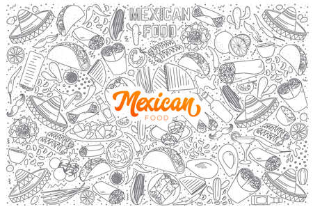Hand drawn set of Mexican food doodles with orange lettering in vector