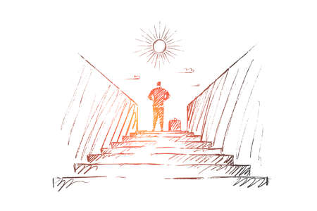 A Vector hand drawn new work concept sketch. Businessman standing backwards at top of stairway and looking at the Sun.