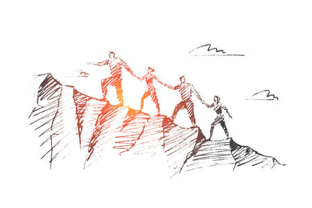 A Vector hand drawn teamwork concept sketch. Business people together trying to climb up mountain holding each others hands.