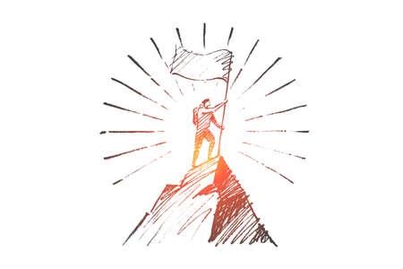 Un croquis de concept de leadership dessiné main Vector. Grimpeur avec drapeau conquérant le sommet de la montagne.
