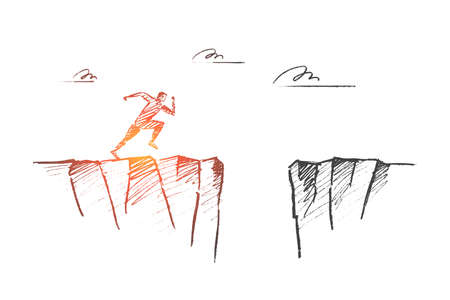 A Vector hand drawn time to risk concept sketch. Man running to edge of mountain and ready to jump to other side over deep pass. 일러스트