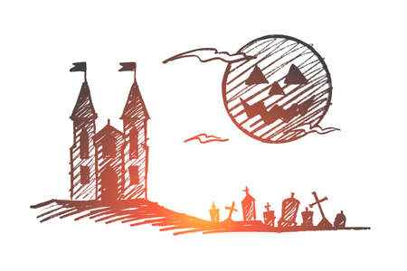 A Vector hand drawn Halloween concept sketch.  イラスト・ベクター素材