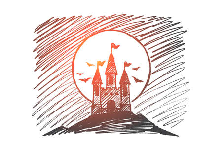 Hand drawn Halloween concept sketch of halloween count Dracula castle on hill at night, flying bats and big full moon. Illustration