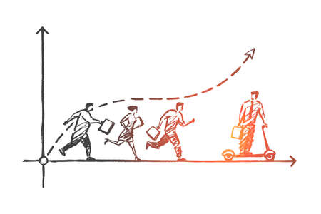 Vector hand drawn Leader concept sketch. Business man riding skateboard and going from running people behind.