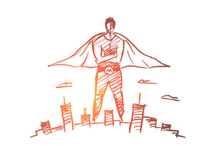 Vector hand drawn hero man concept sketch with pencil over it. Super man in traditional costume over big city
