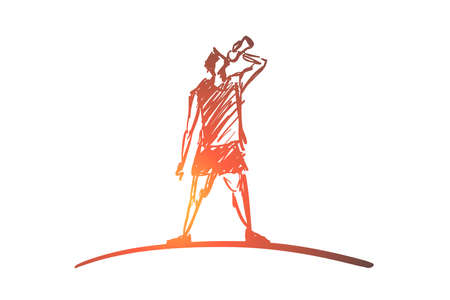 Vector hand drawn sport time concept sketch. Man in sport clothing standing and drinking water from bottle.