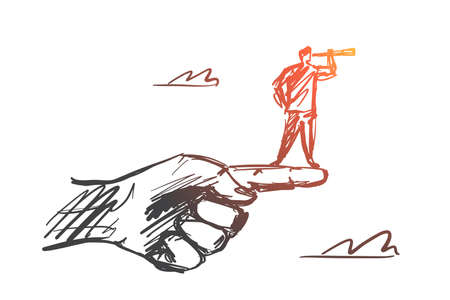 Vector hand drawn intuition concept sketch. Man standing on edge of huge human finger and looking throuth spyglass.