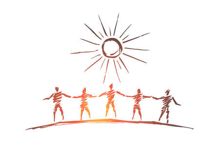Vector hand drawn team concept sketch and pencil over it. Silhouettes of people standing and holding each others hands under the Sun