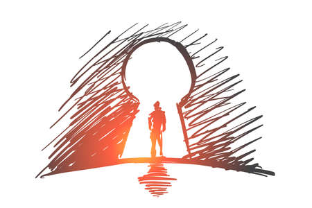 Vector hand drawn inside concept sketch. Silhouette of man standing in keyhole.