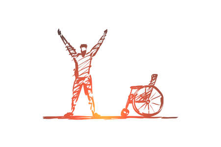 Vector hand drawn healing concept sketch. Happy man standing under the Sun and holding needless crutches on raised hands.