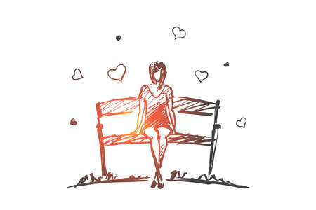 Vector hand drawn girl hearts concept sketch with pencil over it. Young girl in love sitting on bench Illustration