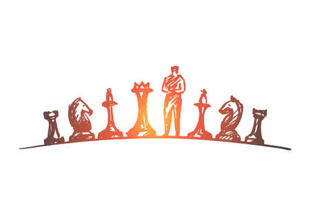 Vector hand drawn chess concept sketch. Man standing on chessboard between different chessmen and thinking.