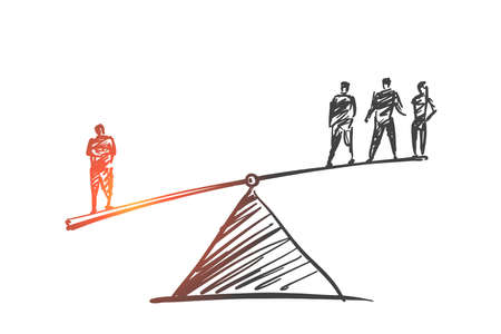 Vector hand drawn Authority concept sketch. Man from one side of scales outweighting three men from another side. Illustration